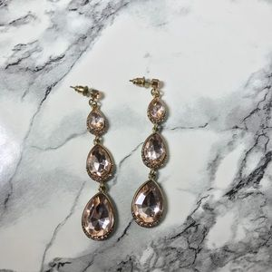 Jewelry - Pink & Gold Drop Statement Earrings